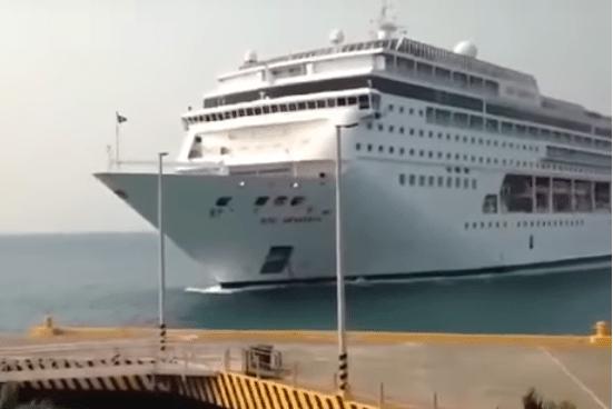 Cruise Ship Crashes Through Pier [Video]
