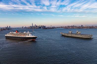 Cunard Ship Meets Aircraft Carrier in New York Harbor