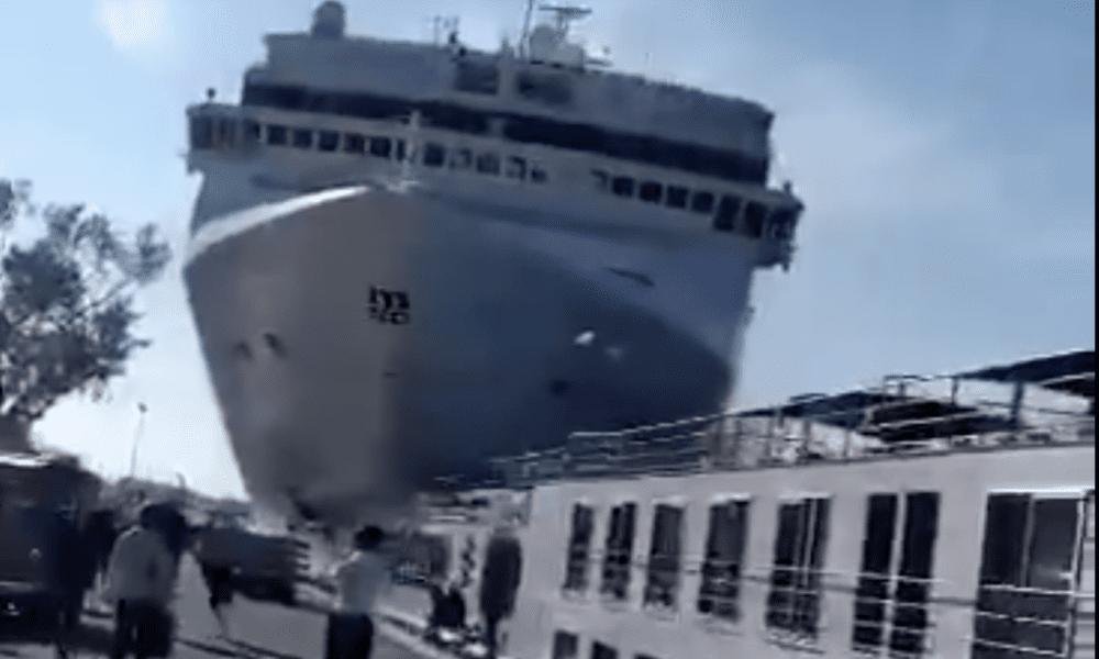 Cruise Ship Slams Into Dock As Tourists Flee [VIDEO]