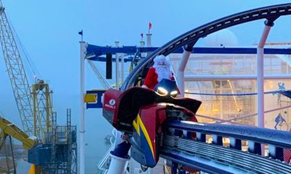 Santa Takes Carnival Cruise Line's Roller Coaster For a Ride